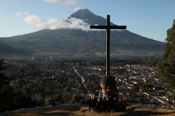PHOTO COURTESY OF JIM CLINE Cerro de la Cruz offers spectacular views of Antigua and Volcano Agua. Our group got up at dawn in order to photograph the sight.